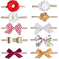 10 PS Baby Girl Headbands and Bows Newborn Infant Toddler Nylon Hairbands Nylon Knotted Hairbands Head Wraps Baby Nylon Headbands Hairbands Hair Bow Elastics Nylon Newborn Headband Infant Headbands