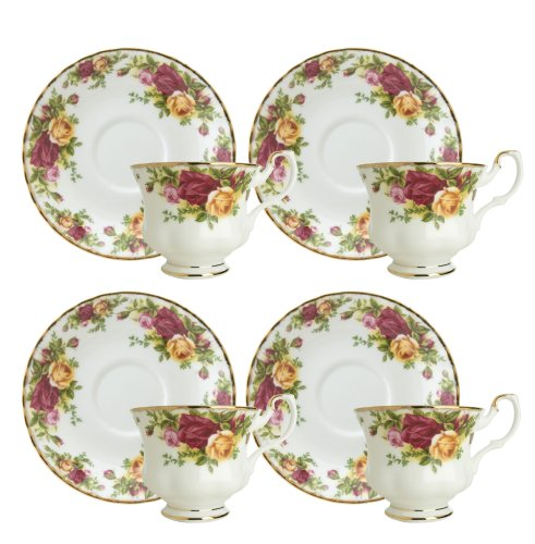 (Royal Doulton-Royal Albert Old Country Roses Teacups and Saucers, Set of 4)