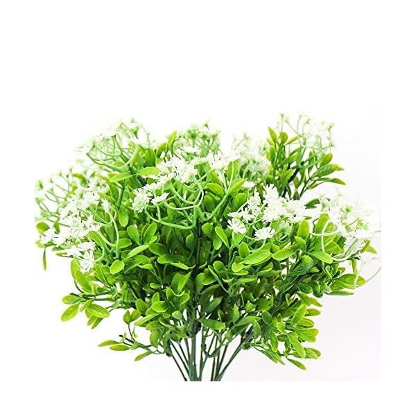 White Yunuo 3PCS Green Grass Plants Artificial Flower Simulation Gypsophila Wedding Decoration for Home Party Office 90 Heads
