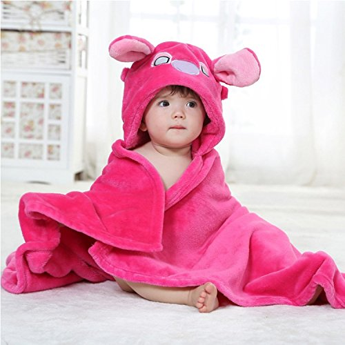 Baby Lobster Costume Australia (Stress Free Key Baby Hooded Blanket Towel - 6 Animals 6 Colors - Swaddle Fleece Blanket for Newborn Child - Good for Boys and Girls - Cute, wearable - Available in Pink, Yellow, White, Blue, Brown)