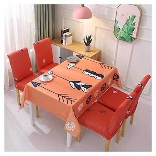 GUOCU Mantel Rectangular Impermeable Antimanchas Algodon Lino Mantel de Mesa Decoracion para Cocina Comedor Fiesta Mantel Silla Juego de Tela Naranja Cuatro Fundas para sillas
