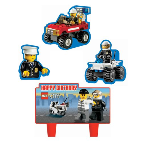 Lego City Cake Set Decorations Cake Toppers 4 Pc Set Non Wick (Party City Cake Decorations)