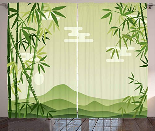 Ambesonne Green Leaf Curtains, Abstract Bamboo Trees in Japanese Forest Botanical Oriental Outdoors, Living Room Bedroom Window Drapes 2 Panel Set, 108