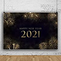 DaShan 14x10ft Sparklers Fireworks 2021 Happy New Year Backdrop 2021 New Year Eve Party Photography Background Gold Glitter New Year Winter Party Banner Christmas Festival YouTube Photo Prop