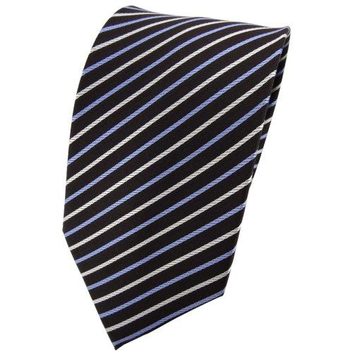TigerTie Designer cravate en soie bleu crème brun rayé - cravate en soie tie