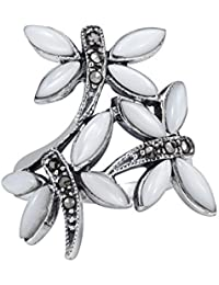White Mother of Pearl With Marcasite Style Pyrite 3-Dragonfly .925 Silver Ring