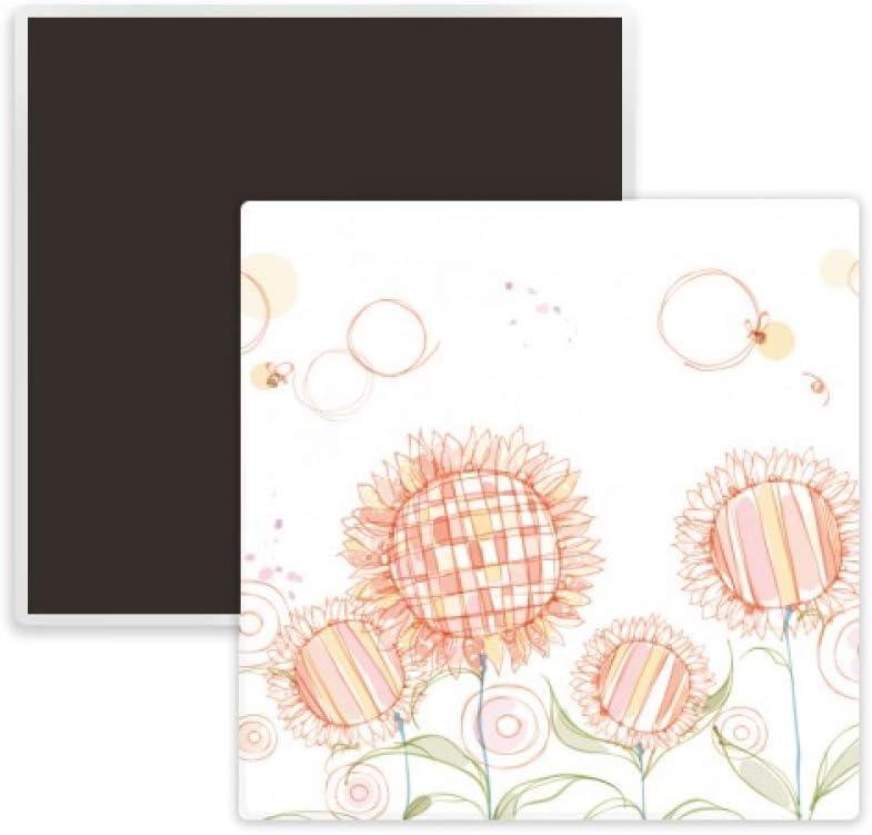 Hand Painted Flower Plant Sunflower Honeybee Square Ceramics Fridge Magnet Keepsake Memento