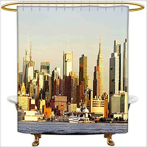 Hudson Dictionary (Qinyan-Home Design Shower Curtain Manhattan Skyscrapers from Hudson River New York American Town Landscape for Sepia Baby Blue. Shower Water-Repellent,Washable.W108 x H72 Inch)