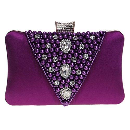 De Del Bordadas Señoras Purple Banquete Las Boda Mujeres Hombro Tarde La Embrague Bolso gSwRxFw