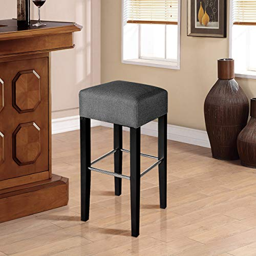 COSTWAY Fabric Bar Stool Modern Contemporary Bar Height Fabric Backless Padded Seat Pub Bistro Kitchen Dining Side Chair Barstools with Solid Wood Legs Gray