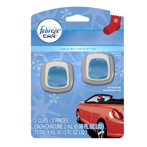 Febreze Car Vent Clips Linen & Sky Air Freshener (2 Count; 2 Ml Each), 0.13 Fluid Ounce