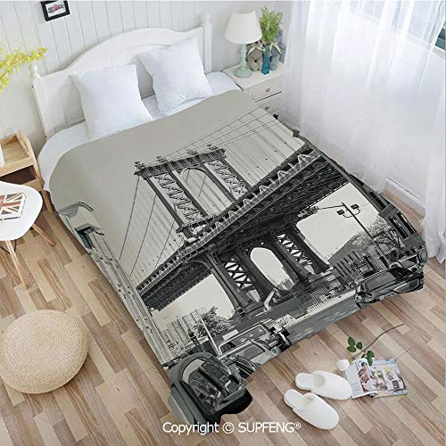 Plush Blanket Brooklyn New York USA Landmark Bridge Street with Cars Photo(W59xL78.7 inch) Easy Care Machine Wash for Bedroom/Living Room/Camping etc (Time Difference Between The Uk And New York)
