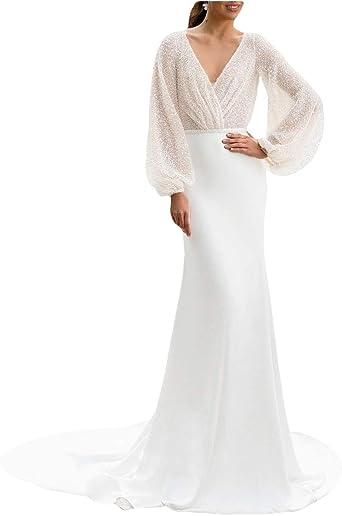 Stillluxury Glittery Mermaid Wedding Dresses For Bride With Long Sleeves Backless Elegant Evening Gown W78 Amazon Co Uk Clothing,Beach Wedding White Maxi Dress