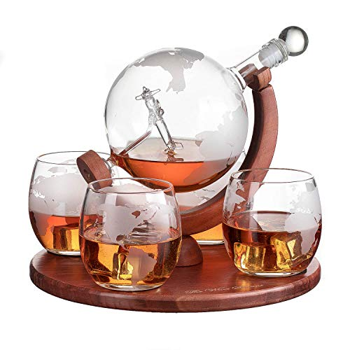 Etched World Decanter whiskey Globe with Antique Airplane