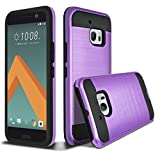 HTC 10 Case, HTC ONE 10 Case, HTC ONE M10 Case, kaesar Slim Fit Brushed Metal Texture Hybrid Dual Layer Slim Protector Case Cover for HTC 10 - Purple