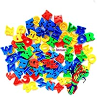 TEMSON Colorful Creative Assembled Alphabetic Plastic Blocks Educational and Learning Intelligence Seton Letter Building and Construction Blocks for Kids (321 G)