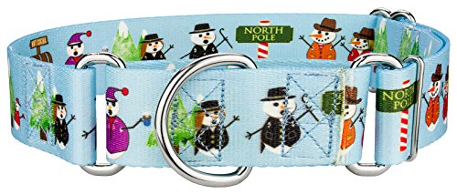 Country Brook Petz 1 1/2 Inch Snowman Party Martingale Dog Collar - Large