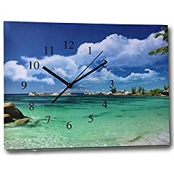 Beach Clock - Canvas Wall Print Clock - Ocean Scene on a Gallery Stretched Canvas