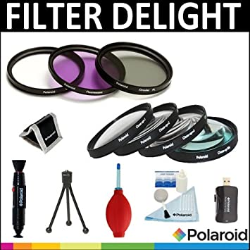 Polaroid Optics - Set de 7 filtros para cámara de fotos (UV, CPL ...