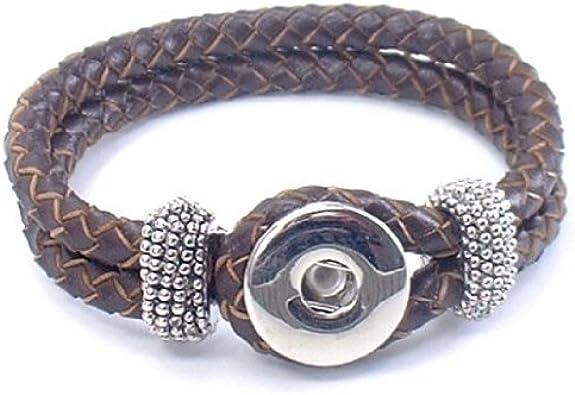 Lederarmband Leder Armband geflochten Click Druckknöpfe Chunks