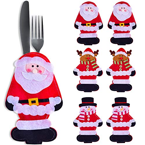 Snowman Christmas Decorations for Table - Set of 6 Kitchen Silverware Holders - Best Xmas Idea for Gift and Decor