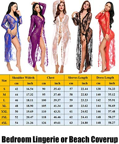 Long Lingerie Robe for Women See Through Dress Lace Gown Open Sheer Mesh Kimono