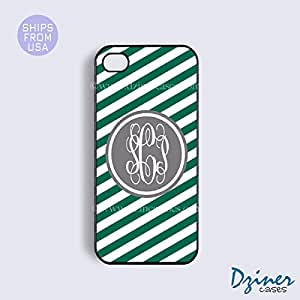 Monogrammed iPhone 5 5s Case - Green Zebra Stripes Grey Circle iPhone Cover
