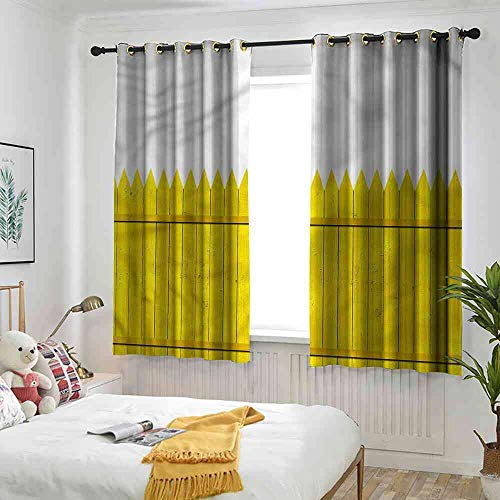DragonBuil Blackout Curtain Yellow,Wooden Picket Fence Modern Design Curtain, W63 x L72(160cm x 183cm) ()