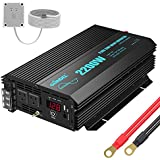 Pure Sine Wave Power Inverter 2200Watt DC 12volt to AC 120volt with Dual AC Outlets and 2.4A USB Port & LED Display Remote Co