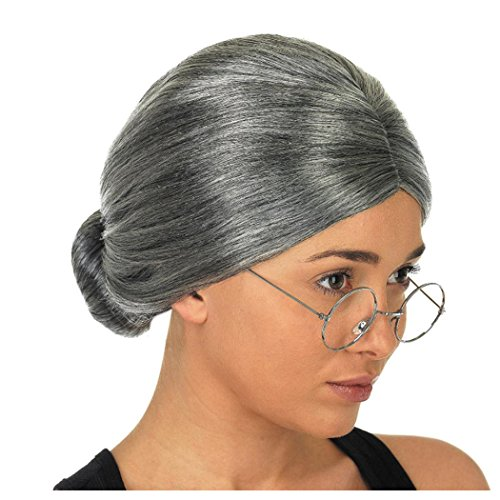 Inkach Grey Wigs, Fancy Old Lady Grandma Granny Gray Wig Bun Hair Grand Mother Synthetic Cosplay Wigs (Black) ()