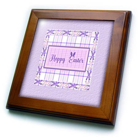 3dRose Beverly Turner Easter Design and Photography - Hoppy Easter with Bunny Ears, Frame, Lavender Plaid and Eyelet Ribbon - 8x8 Framed Tile (Gloss Eyelet)