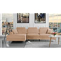 Modern Large Linen Fabric Sectional Sofa, L-Shape Couch with Extra Wide Chaise Lounge (Champaign)