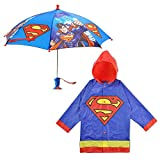 DC Comics Little Boys Batman or Superman Slicker and Umbrella Rainwear Set,