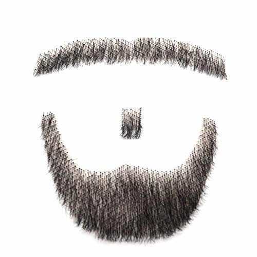 MAYMII 100% Human Hair Fake Men's Man Beard Makeup Mustache Perfect for Costume And Party]()