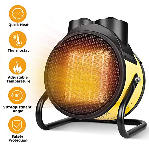 2 In 1 Fan Heater, Space Heater for All Year Round, Fast Heating, Thermostat, Adjustable Temperature, Overheating Protection, 90°Adjustable Angle, Portable Electric Heater For Living Room, Office (Best Heater For Living Room)