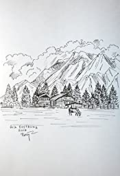 Alpine Landscape original pencil drawing