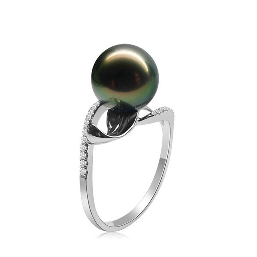 AmDxD Jewelry Silver Plated Women Promise Customizable Rings Tahiti Black Pearl Size 6,Engraving