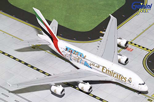 GeminiJets Emirates A380 A6-EUG Real Madrid 1:400 Scale Diecast Model Airplane, White (Emirates 1 400)