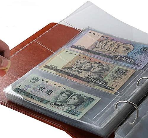 ZYZRYP 10個入りマネー紙幣紙幣アルバムページの収集ホルダースリーブ3スロットルーズリーフシートアルバム便利 使いやすい