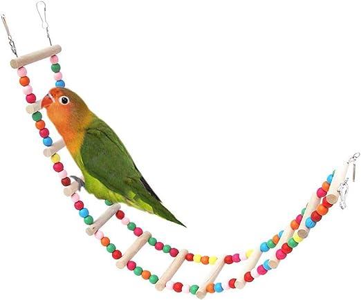 FXQIN Escalera de Madera para Jaula de pájaros, Escaleras Colgantes de Loro Toy Bird Swing, Apto para Periquito Cockatiel Bird Pet Climbing, Puente Colorido: Amazon.es: Productos para mascotas