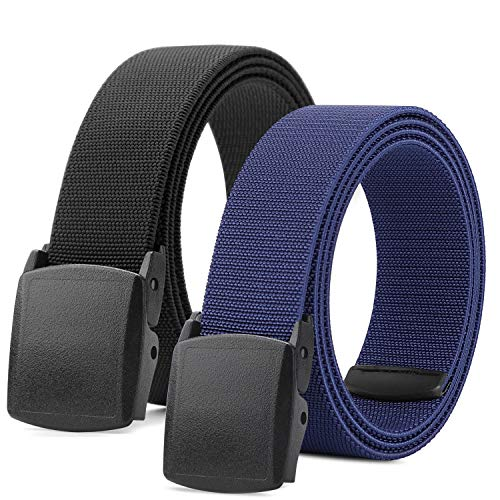 Mens Elastic Stretch Jeans 2 Belts Casual Outdoor Belt YKK Full Plastic Buckle Belt Fits up to 44 Inch (2 Black/Blue)