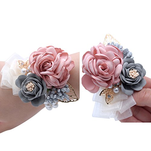 Florashop Pink Satin Rose Wrist Corsage & boutonniere Wedding Bridal Bridesmaid Wrist Corsage Wristband and Men's Groom Bridegroom Boutonniere for Wedding Prom Party Homecoming