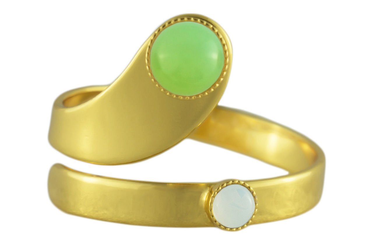 24K Gold Plated Spiral Ring Adjustable Universal Size White Opal Moonstone Round Czech Glass Stone Green Aqua Handmade BohemStyle