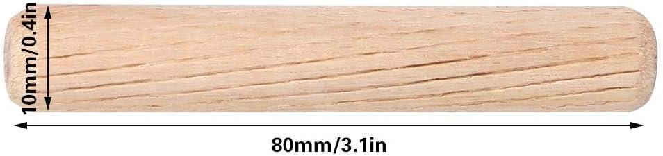 M10*80 50 UNIDS Clavijas de Madera Clavija del Gabinete Caj/ón Ranurado Ranurado Estriado Barras de Pasador Conector de Muebles Accesorios de Sujeci/ón 30//40//50//60//80 MM