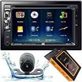 Dual XDVD276BT 6.2' LCD Touch Screen Double Din Car Stereo with HD Camera + Gravity Magnet Phone Holder Bundle