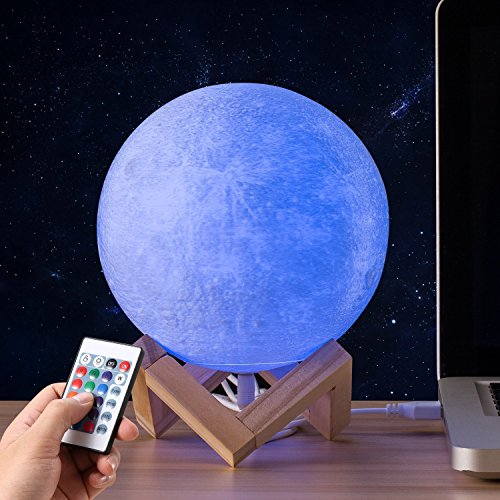 Gahaya 16 Colors 【Seamless】 Moon Lamp, 【Remote】 & Touch Control, Unibody Forming 3D Printed, PLA material, USB Recharge, Diameter 7.1''/18cm by Gahaya (Image #8)