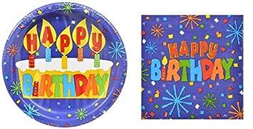 Confetti Happy Birthday Paper Plates and Matching Napkins  sc 1 st  Amazon.com & Amazon.com: Confetti Happy Birthday Paper Plates and Matching ...