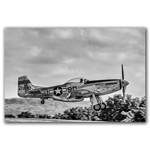 Vintage WWII P-51 Mustang fighter plane taking off, original art photograph, printed on aluminum, ready to (P-51d Mustang Pictures)