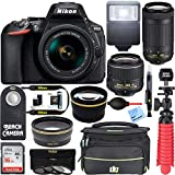 Nikon D5600 24.2MP DSLR Camera 18-55mm VR & 70-300mm ED Lens (Renewed) with 16GB Deluxe Bundle
