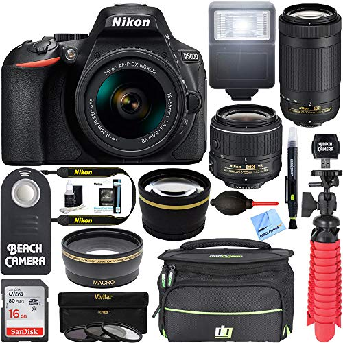 - Nikon D5600 24.2MP DSLR Camera 18-55mm VR & 70-300mm ED Lens (Renewed) with 16GB Deluxe Bundle